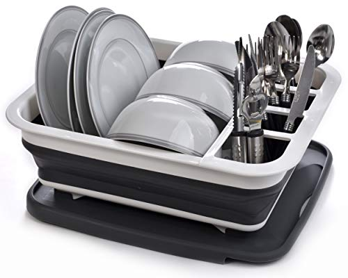 Collapsible Dish Drying Rack - Popup and Collapse for Easy Storage, Drain Water Directly into the Sink, Room for Eight Large Plates, Sectional Cutlery and Utensil Compartment, Compact and Portable.
