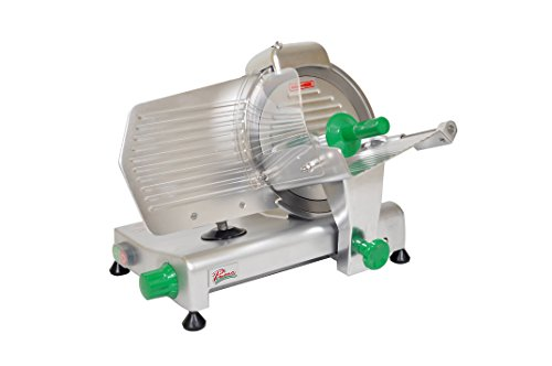 "PRIMO PS-10 Anodized Aluminum Meat Slicer, Belt Drive Transmission, 10"" Blade, 23-25/128"