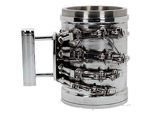 Terminator 2 SIlver Stainless Steel Tankard with robotic hand design. A must-have for all Terminator fans - drink from me if you want to live!