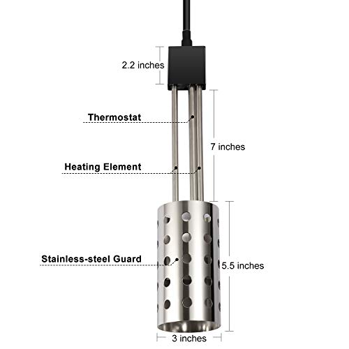 Gesail 1500W Electric Immersion Heater, UL-Listed Bucket Water Heater with 304 Stainless-steel Guard, Submersible Bucket Heater with Thermostat and Auto Shutoff, Heats 5 Gallons Water in Minutes