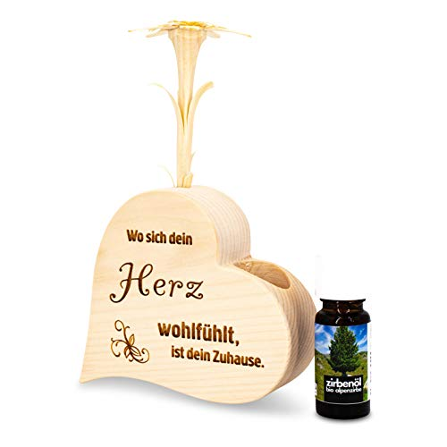 sagl.tirol holzmanufaktur Zirbenduftset Herz Wo Sich Dein Herz wohlfühlt ist Dein Zuhause + Bio-Zirbenöl (10ml)