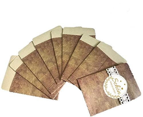 Super Idee Pack of 100 Vintage Mini Gift Bags Envelopes Made of Beautiful Paper Gift Bags for Handkerchiefs Party Bags Candy Jewellery Wedding Guest Gift Christmas
