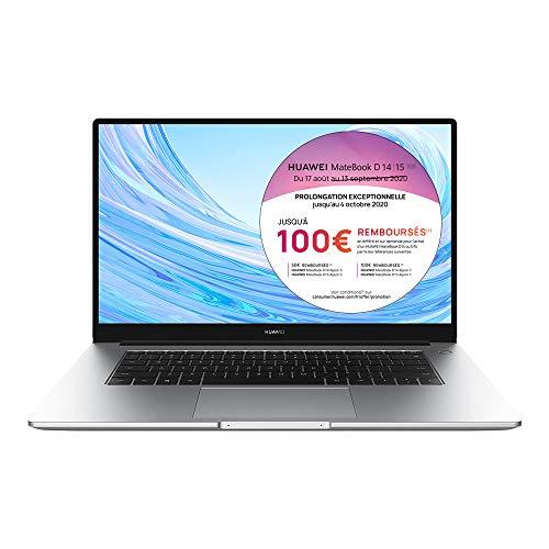 HUAWEI MateBook D 15 2020 PC Portable 15.6'' 1080p FHD (AMD Ryzen 5 3500U, RAM 8Go, SSD 256Go, Windows 10 Home, Clavier Français AZERTY), Argent