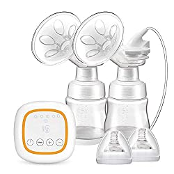 Máy bơm sữa mẹ sạc pin với cổng USB BAMMAX Double Electric Breast Pump, Portable Breast Pumps Breast Feeding Milk Pump Travel USB Rechargeable Breast Pump with 4 Modes 16 Files, LED Touch Screen, Ultra-Quiet, BPA-Free, FDA Certified