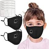 AmyGline Outdoor Baumwolle-Gesichtstuch-Mundschutz,mit Aktivkohlefilter,Wiederverwendbar,Waschbar,Anti-Staub,Atmungsaktiv,Grau Schwarz,für Radfahren Motorrad (2, Kinder-Schwarz)