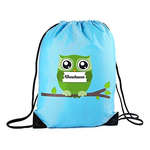 Striefchen® Turnbeutel mit Wunschnamen - Eule - in Hellblau mit Geschenkverpackung
