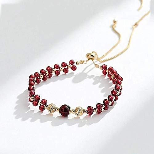 Pulsera SMEJS, pulsera de granate burdeos, pulsera de cristal con cuentas de transferencia de oro auténtica natural para mujer, regalo de San Valentín para mujer
