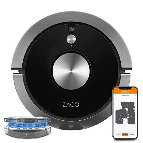 ZACO A9sPro Saugroboter mit Wischfunktion, App & Alexa Steuerung, Mapping, bis zu 2 Std saugen oder wischen, Staubsauger-Roboter für Hartböden & Teppich, Tierhaare, Roboterstaubsauger mit Ladestation