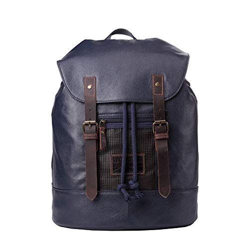 TRP0455 Troop London Heritage Canvas Leather Laptop Backpack, Smart Casual Daypack, Tablet Friendly Backpack (Navy)