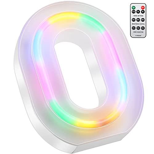 Luces LED de Letras Coloridas, Señal de Neón de 26 Alfabeto Luces de Número de Marquesina con Control Remoto Lámparas de Brillo Alimentadas por 2 Pilas AAA para Pared de Hogar (Letra O)