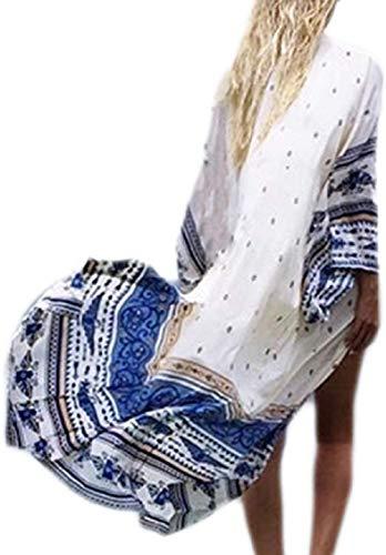 Uniquestyle Damen Sommer Kimono Cardigan Strand Chiffon Bluse Tops Boho Bikini Cover Up (Weiß2, One Size)