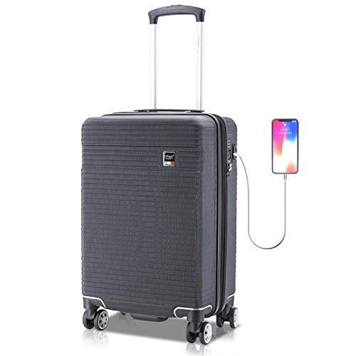 Villagio Hard Shell Luggage - Suitcase with USB Port - Tamper Proof Luggage With Anti-Theft Zipper - Durable Hard Shell Suitcase - 100% Polycarbonate Hard side Luggage - High-End Carryon Luggage