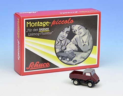 Dickie Toys 450559600 Schuco 450559600-Piccolo Montagekasten Unimog, Modellauto, Modellfahrzeug, Modellbaukasten, rot