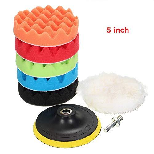 Preisvergleich Produktbild flower205 3 Zoll / 5 Zoll Polierschwamm KitWith Bohreradapter Wollwachs Pads Set 7 Polierscheiben für Auto Polierer Haarentfernung