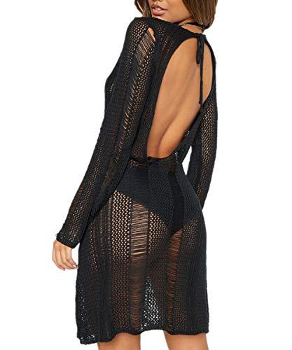 AiJump Donna Trasparente Crochet Tunica Abito da Spiaggia Parei Copri Bikini Costume da Bagno Cover Up