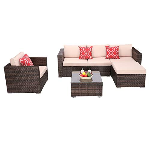 Do4U 6-Piece Outdoor Patio Furniture Sets Rattan Chair Wicker Set with Coffee Table Garden Poolside Balcony (Brown)
