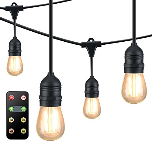 Mpow Upgraded 49Ft Led Outdoor String Lights, Ambiance Adjustable 150W Remote Control Dimmer, Dimmable 1.5W Vintage Bulb (1 Spare), Heavy Duty Waterproof Edison String Light For Patio Backyard (Black)