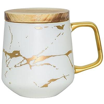 LUCCK Ceramic Coffee Mug with Wooden Lid 14.5 OZ Tea Cup Luxury Gold Inlay Marble Pattern Ceramic Mug Coffee Tea Mug Gift for Women Wife Girl Grandma (White)