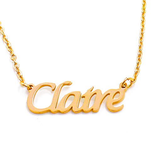 Kigu Claire Name Necklace Personalised 18ct Gold Plated, Custom Dainty Name...