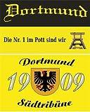 2er Set Dortmund Südtribüne & Dortmund Nr.1 im Pott Fussball Fahne Flagge Grösse 1,50 x 0,90m mit Ösen - FRIP –Versand®