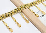 QUNLIPAI 12 m/Lote Adornos de Cortina de Encaje con Cuentas, Accesorios de Cortina de Encaje de Costura DIY,Gold Yellow