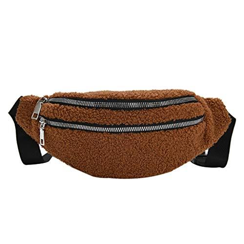 HDUFGJ Gürteltasche Damen Plüsch Bauchtasche Hüfttaschen Brustpackung Handytasche Tasche