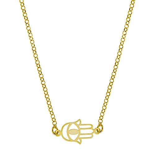 Córdoba Jewels | Gargantilla realizada en Plata de Ley 925 bañada en Oro. Diseño con Mano de Fátima y Ojo Turco. Cierre Ajustable con reasa. Medidas: 40 cm. Pieza: 18x10 mm