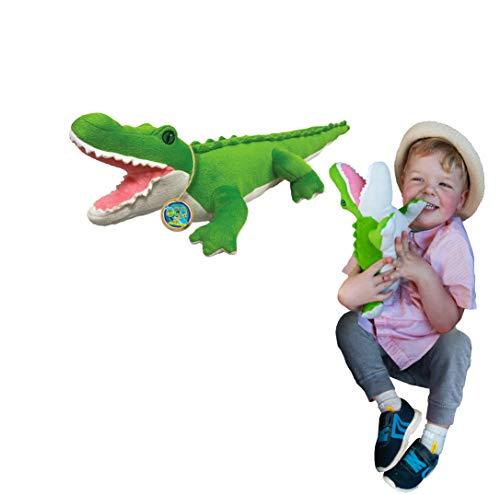Juguete Suave del cocodrilo de EcoBuddiez, Medio (los 44cm) - Juguete Suave y mimoso de la Felpa de Deluxebase. Hecho de Las Botellas plásticas recicladas. Regalo mimoso niños.