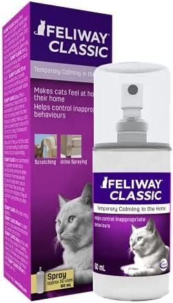 FELIWAY Classic – Antiestrés para gatos – Transportín, Viajes, Marcaje con orina localizado, Arañazos verticales localizados – Spray 60 ml