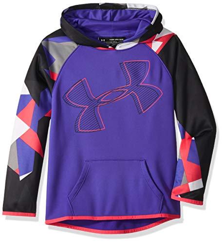 Under Armour Girls Armour Fleece Hoodie Printed Logo, Constellation Purple (530)/Penta Pink, Youth Medium
