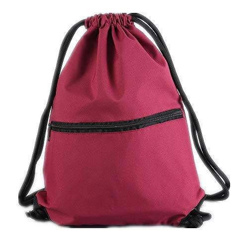 Aiditex Men & Women Sport Gym Sack Drawstring Backpack Bag (Burgundy)