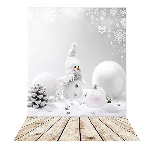 BDDFOTO Fondos de fotografía de Navidad, 1,5 x 2 m Tablero de Madera Vintage Fondos de Navidad Muñeco de Nieve Nevando Fondo de Navidad Fondo de Madera para niños