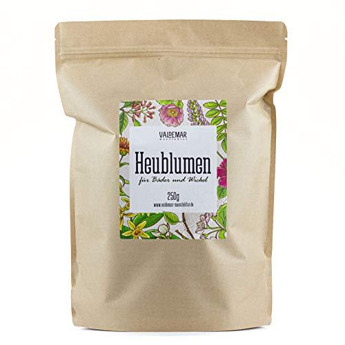 Valdemar Manufaktur Premium HEUBLUMEN-BLÜTEN 250g (Für Tee, Wickel und Auflagen) - HANDVERPACKT In Deutschland