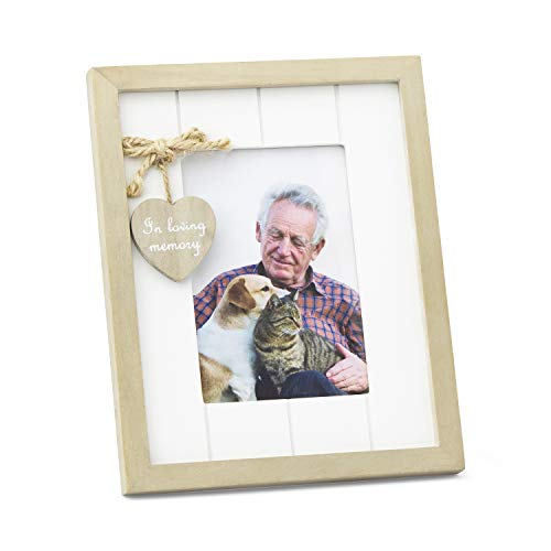 Mejor Rustic Wood Family, Friend or Pet Memorial Photo Frame with in Loving Memory Heart Embellishment. Remembrance Picture Sympathy or Condolence Gift. Portrait Orientation crítica 2020