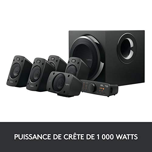 Logitech Z906 Système de Haut-Parleurs avec Son Surround 5.1, Certifié THX, Dolby & DTS, 1000 Watts en Puissance, Multi-Dispositifs, Entrées Multiples, Télécommande, Prise EU/France, PC/PS4/Xbox/TV