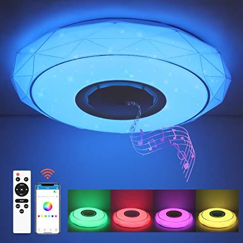 SHILOOK Led Deckenleuchte mit Bluetooth Lautsprecher, Dimmbar Deckenlampe Farbwechsel mit Fernbedienung und APP-Steuerung, 24W 3000-6500K für Schlafzimmer Küche Kinderzimmer Wohnzimmer, Rund 40.5cm