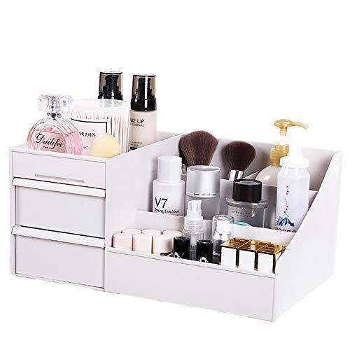 Baffect Desktop Cosmetics Aufbewahrungsbox mit Schubladen, Make-up Organizer Schubladen Abteilung Schreibtisch Veranstalter Make-up Veranstalter für Schlafzimmer Badezimmer Büro (weiß)