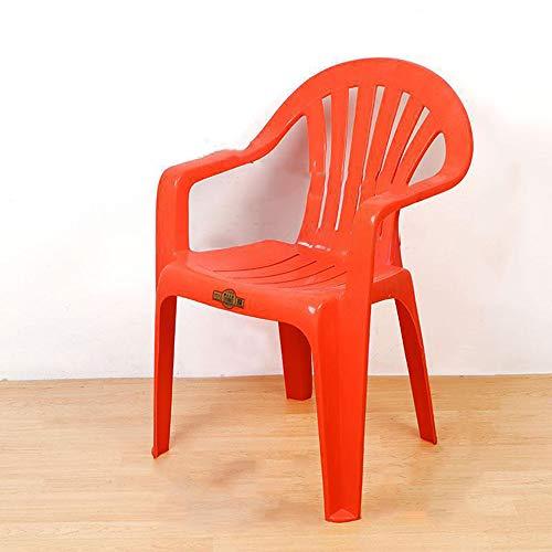 CIJK Trasero de la Silla plástica de jardín Baja, sillas de Asiento apilable Fiesta al Aire Libre Patio de jardín, terraza y Balcones,Rojo