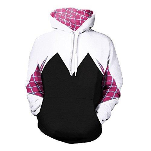 Super Hero Hoodie Super Hero Costume Creative Fashion Sweater Halloween Costume (XXL, Gwen)