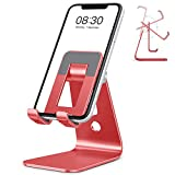 Cell Phone Stand, OMOTON Adjustable Aluminum Desktop Cellphone Tablet Stand Holder for Cellphones, iPhone and E-Readers (Red)