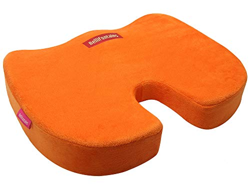 Bellifontains Coccyx Orthopedic Memory Foam Seat Cushion for Office Chairs and Car-Relieve Sciatica, Back & Tailbone Pain (2 Covers, Orange&Gray)