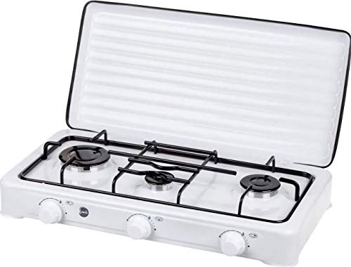 MPM SMILE-KN-03/1K Cocina de Gas Portátil, Adultos Unisex, Blanco, 3 Quemadores