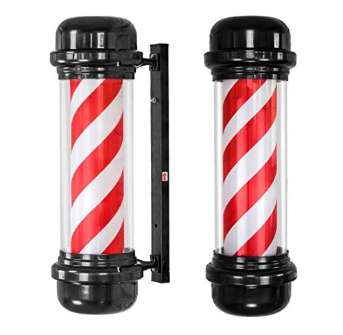 Poste de barbero de 71 cm, parte superior plana, cilíndrico, LED, poste de señalización de peluquería, luz roja, raya blanca, luz giratoria, iluminada, exterior, impermeable, lámpara de pared para s