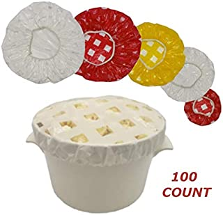 Set of 100 Reusable Elastic Food Bowl Covers Keeps Food and Beverages Fresh Longer. Great Picnic and Camping Accessorie. Extra Thick Material. Fits XL Bowls