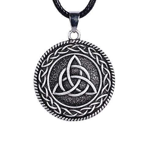 HAQUIL Celtic Triquetra Necklace, Celtic Trinity Knot Medallion Pendant, Faux Leather Cord, Celtic Jewelry Gift