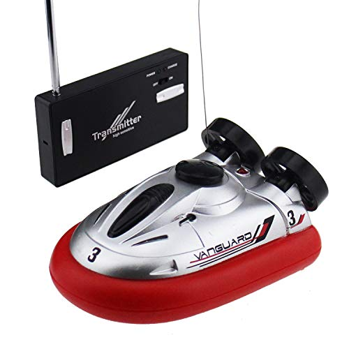 Tipmant 4 CH Mini RC Boat Ship Radio Remote Control Hovercraft Kids Water Pool Toy (Red)