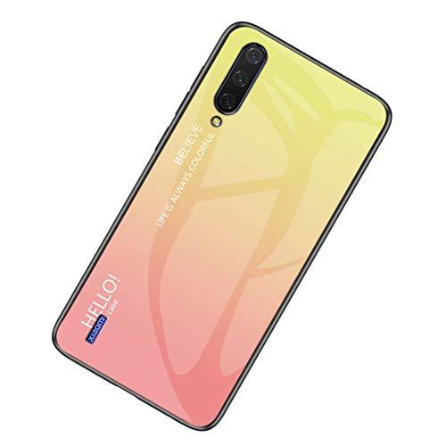 Yoodi Capa Xiaomi Mi CC9, capa traseira de vidro temperado gradiente + capa de moldura de silicone macio antiarranhões híbrida para Xiaomi Mi CC9 - amarela