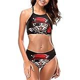 Conjunto de bikini sexy con diseño de calavera y pez pirata, para mujer, triángulo acolchado, push-up, parte superior de dos piezas negro XXL