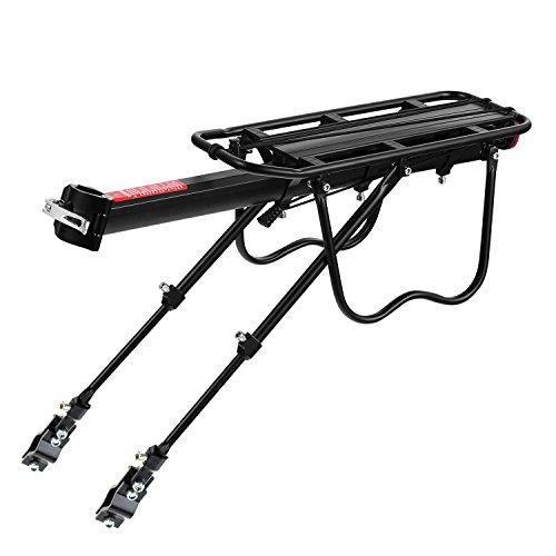 PowerZJS Fahrrad-Gepäckträger,Einstellbar Aluminium-Legierung MTB Gepäckträger Fahrrad Gepäckträger Fahrradträger Racks mit Reflektor Fahrradträger mit breitem Sitzträger mit Einer Kapazität von 50 kg