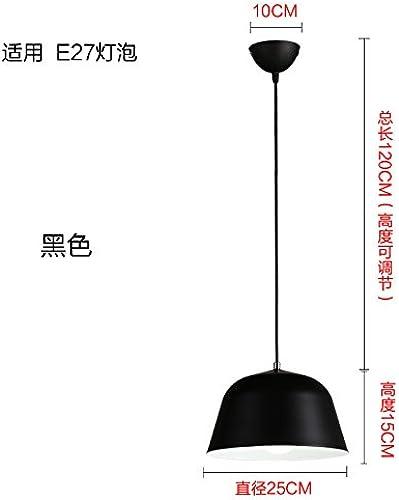 LuckyLibre Tête simple simple et moderne de couleur aluminium Pendentif lumière ombre Chambre Bar Café Restaurant Cuisine Couloir d'éclairage lampe de plafond,Lustre noir 25 cm sans ampoule